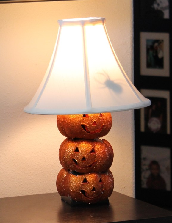 Dollar Store Craft:  Jack O' Lantern Lamp and Crawling Spider Lampshade