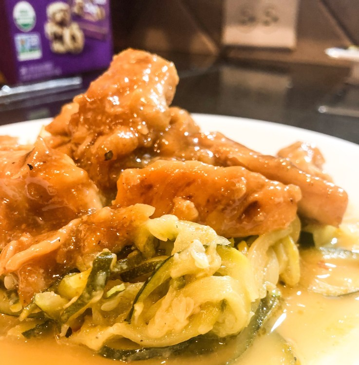 Low Carb Meal! Garlic Honey Chicken with Buttery Zucchini Noodles