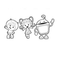 Team Umizoomi: Milli, Geo and Bot Colouring Page