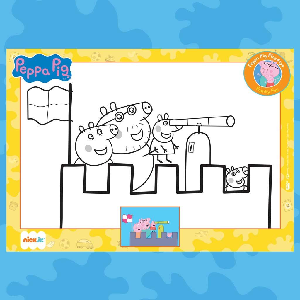 Peppa Pig Printable Castle Colouring Page