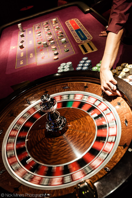 The Roulette wheel in action at Napoleon's casino in Leicester Square, London