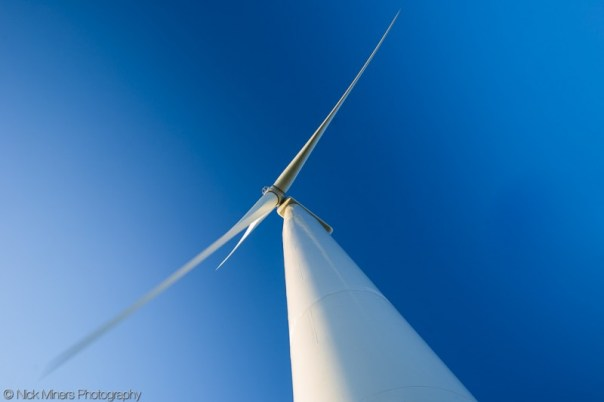 A wind turbine, a common sight these days, becomes almost unrecognisably abstract when viewed from directly below.