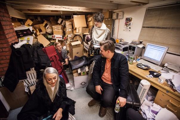 Hildur, Axel, Helga and Árni wait in the 12 Tónar office