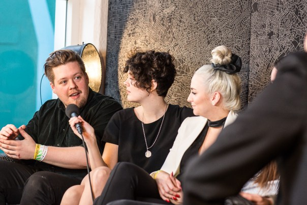 The band conduct an interview after the Slipbarinn performance