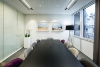 Meeting room with opaque windows