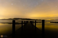 The jetty on Windermere. photographed at night