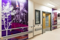 The main corridor in the Teenage Cancer Trust ward at Queen Elizabeth University Hospital, Glasgow