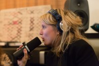 …and lays down some additional vocals for the mix