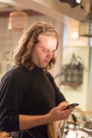 Arnar checks his messages