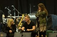 On stage for the sound check, Kata, Andri and Alexandra prepare