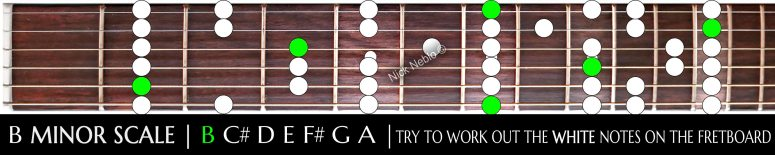 Easy B minor scale layout to learn and teach