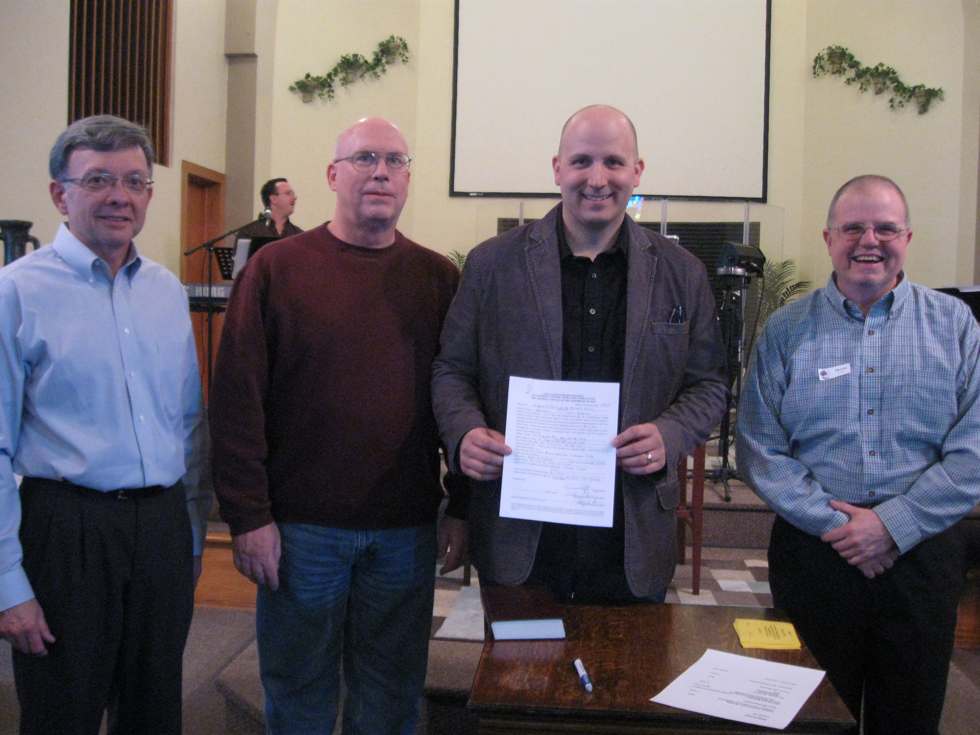 Pastor Chris Hezlep & the Ridgewood Church board with their sovereign church charter