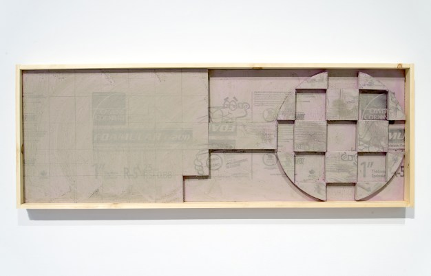 """""""Adding Up No. 2 (Detail),"""" 2015, foam insulation board and wood, 2 x 6 ft."""