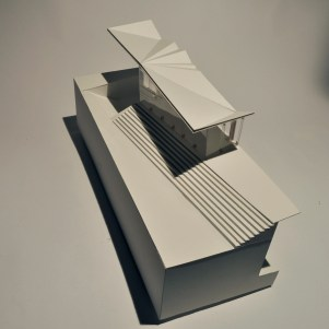 """""""2.2 Sectional Model of West Facade, Plovdiv Museum over Roman Ruins,"""" museum board and balsa wood, Scale 1:50."""