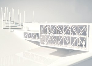 """""""Suspended Residences // Land Bridge for Interrupted Bear Migration,"""" (5th Iteration Model), museum board and plexiglass, Scale 1:100."""