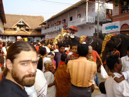 Outside Sree Padmanabhaswamy temple