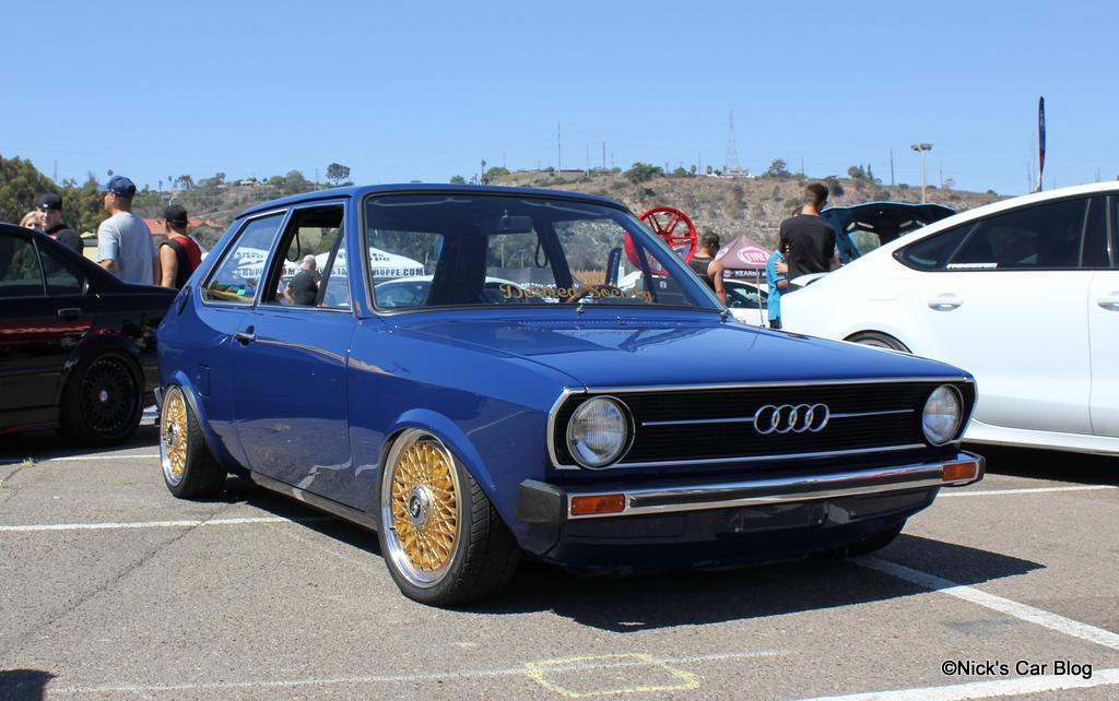 Blue Audi 50 on Gold Wheels