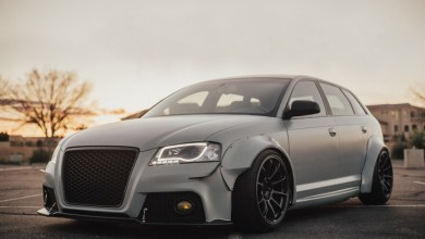Photo of Insane Satin Battleship Gray Widebody Audi A3