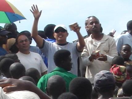 Tony evangelizing at the market place