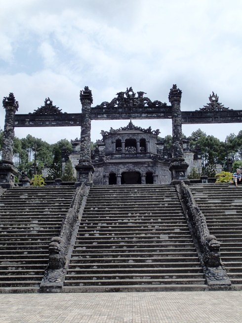 This is the street level view of Khai Dinh's tomb. There ain't no elevator, so lace them up tight.