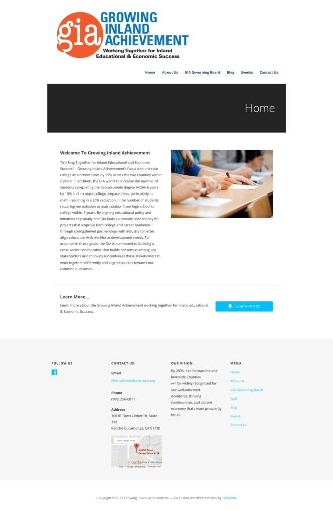 Growing Inland Achievement WordPress Project 2017