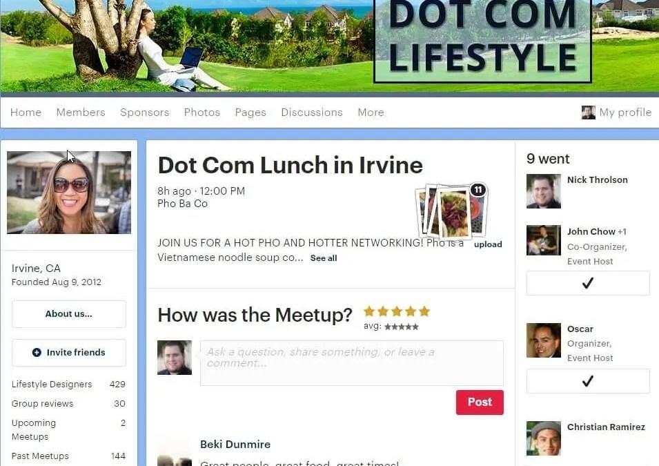 Dot Com Lifestyle Meetup Irvine CA Review