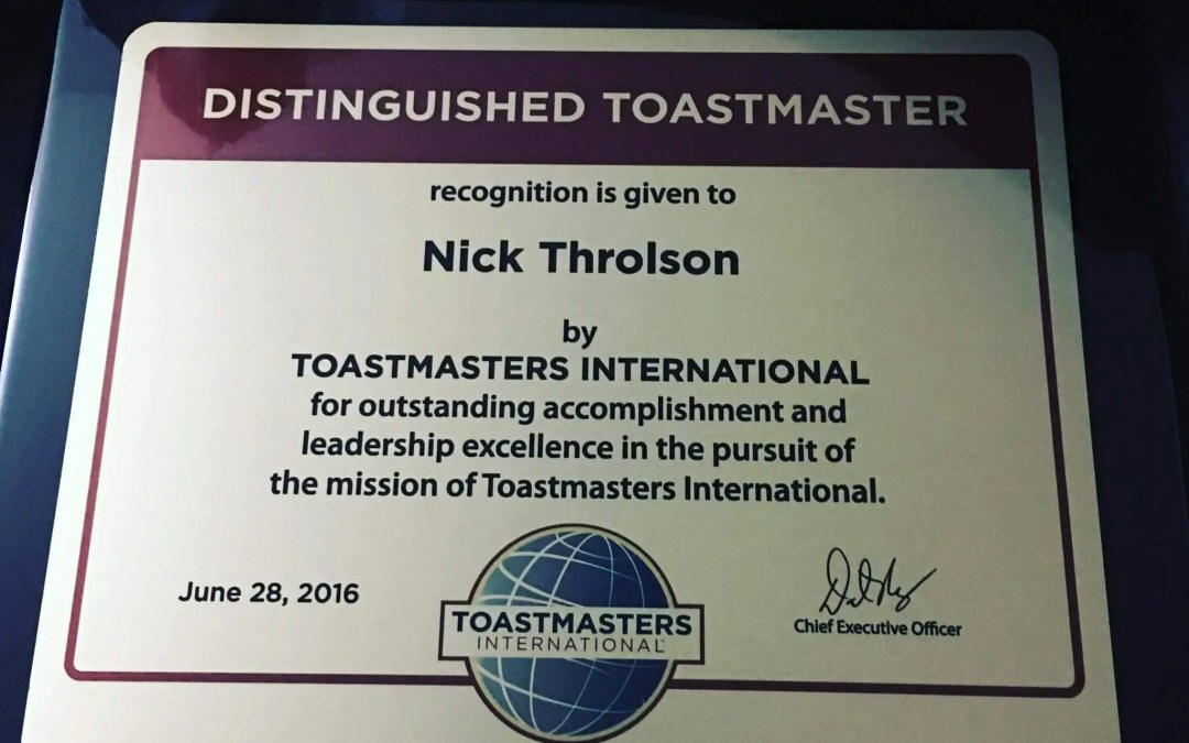My Journey to Becoming a Distinguished Toastmaster