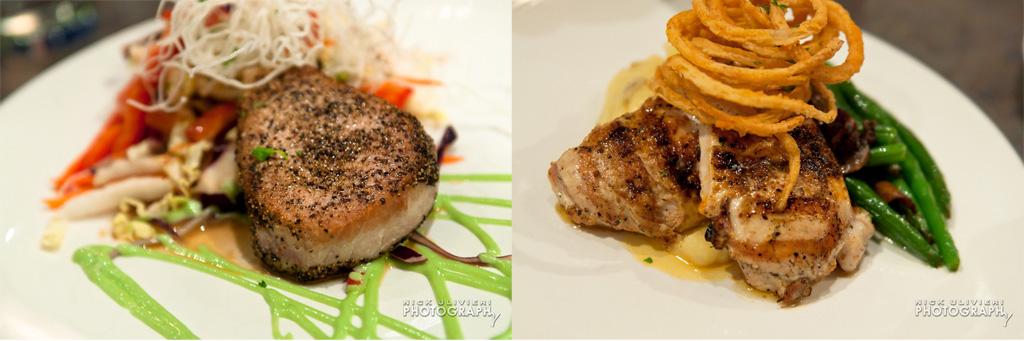 Gentelins' Peppercorn Seared Ahi Tuna and  Aunt Jayne's Chicken