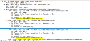 Wireshark Diameter Authentication Information Response message body looking at the E-UTRAN vectors