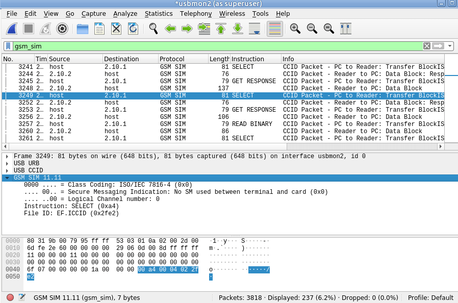 SIM Card Sniffing with Wireshark