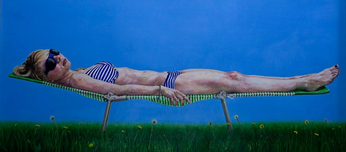 Christine Sunbathing #1 oil painting by Nick Ward