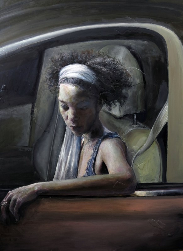 Judith Peck - Pulled Over, 40x30 inches, Oil and plaster on board