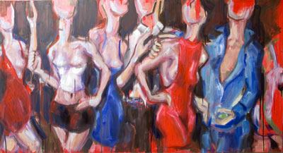 Dance Club Study 4, oil painting by Nick Ward, work in progress