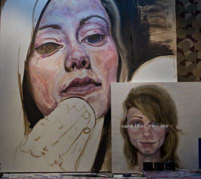 Portrait of Nikki, oil painting in progress by Nick Ward
