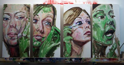 Transformation 4, work in progress, oil painting by Nick Ward