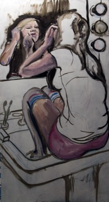 Val, in the sink.  Oil painting by Nick Ward, work in progress.