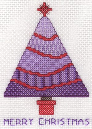 cross stitch Christmas tree in purple