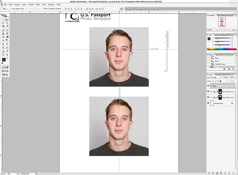Photoshop Passport Photo Template v1.1 | NicMyers.com