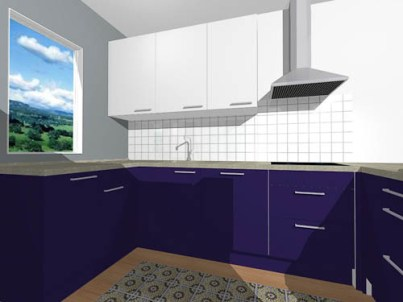 View towards sink and stove