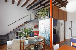Living area with view of mezzanine