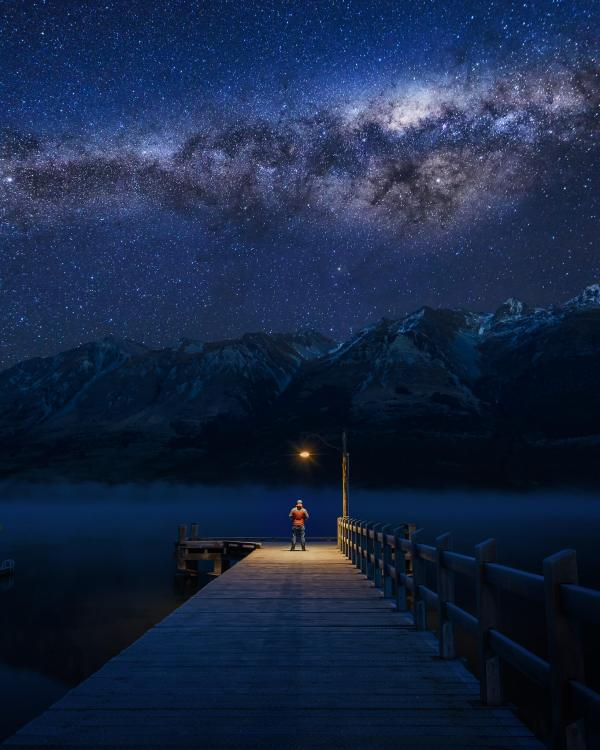 Milky way over the Glenorchy jetty in New Zealand