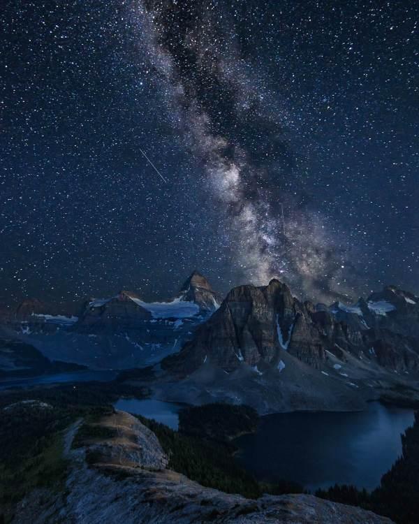Milky way rising behind Mount Assiniboine Canada