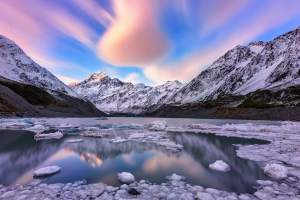 Sunset over Hooker lake in Mount Cook National park New Zealand photo by Nico Babot