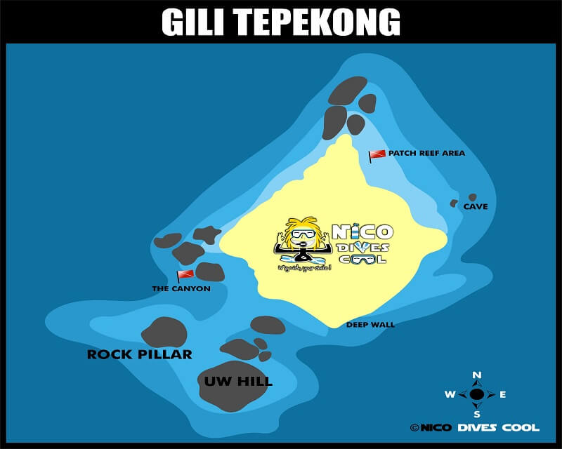 Diving GILI TEPEKONG Bali diving map Candidasa Amuk Bay Dive Sites Sharks Current