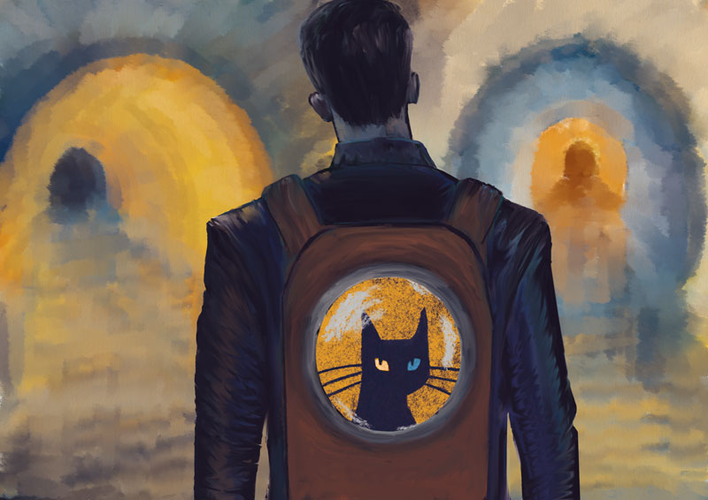 illustration young boy backpack black cat gallery rat shadow