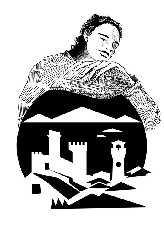 illustration young man sleeping landscape Passignano castle houses islands clouds black and white