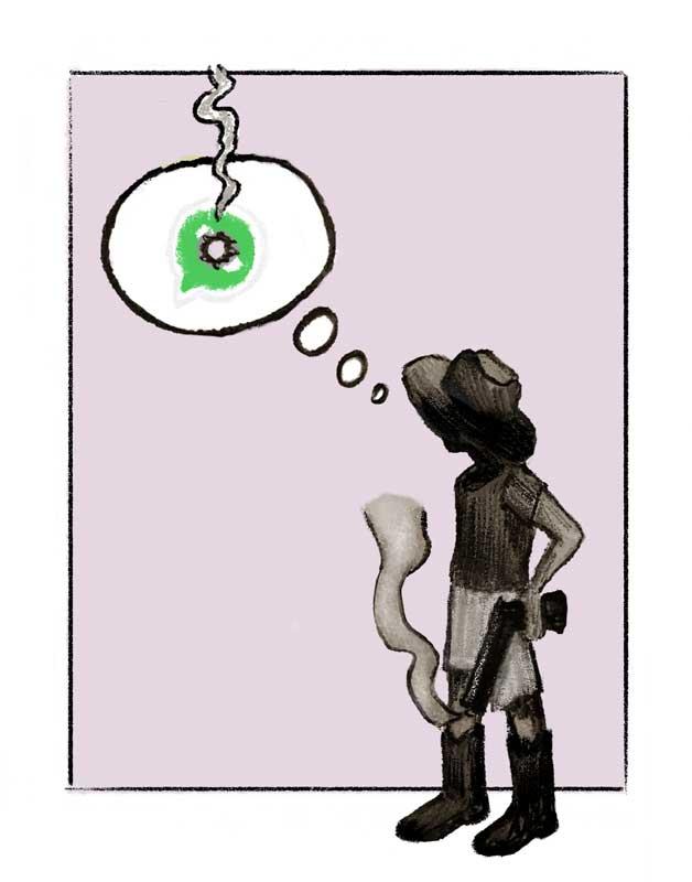 illustration whatsapp gun shot western thinking covid coronavirus