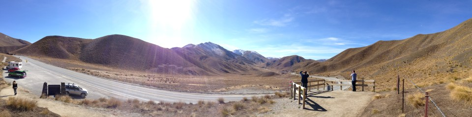 High up on the Crown Range , driving to Queenstown