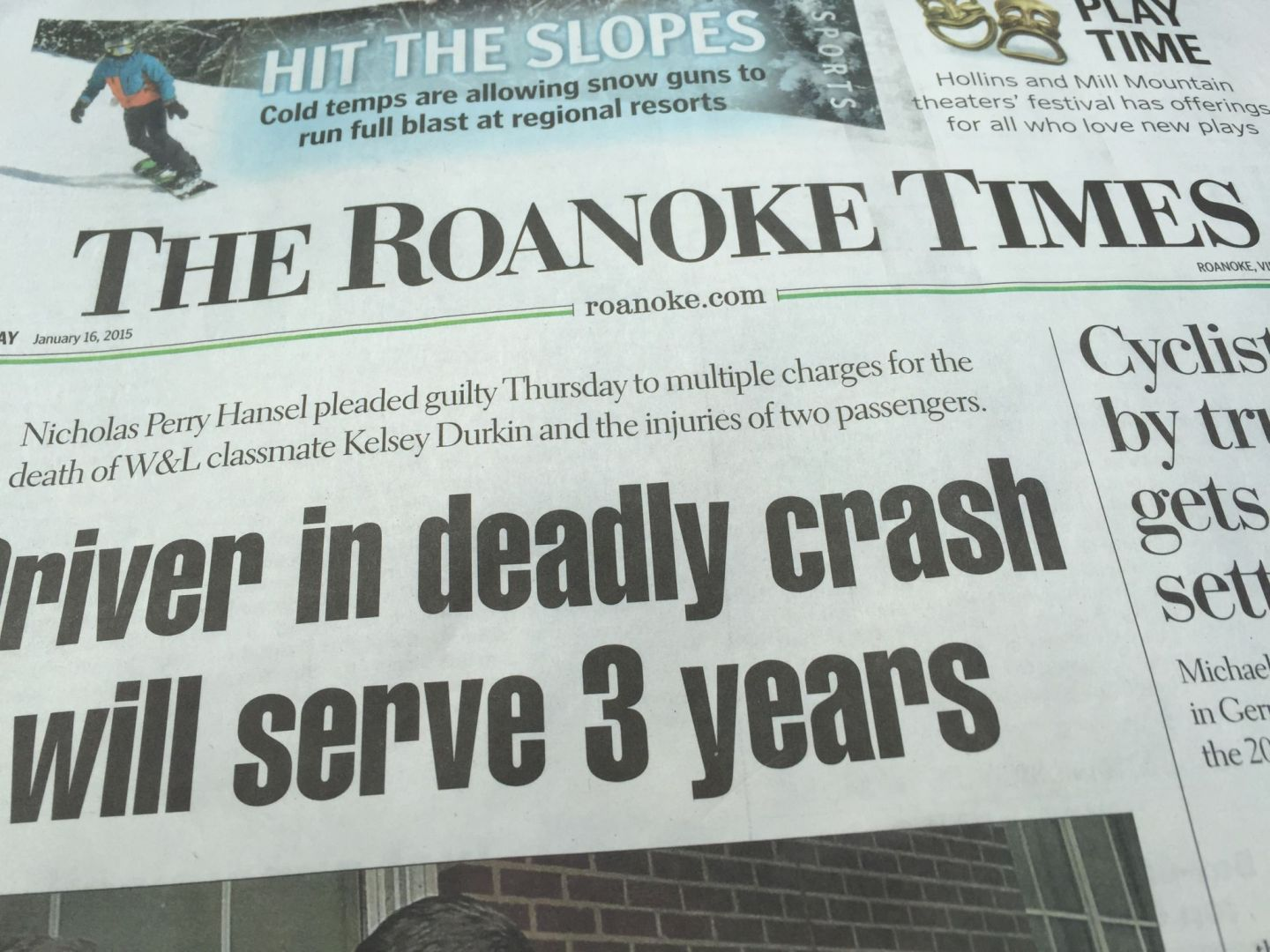 The Roanoke Times newspaper. Pic by @jabberingjourno
