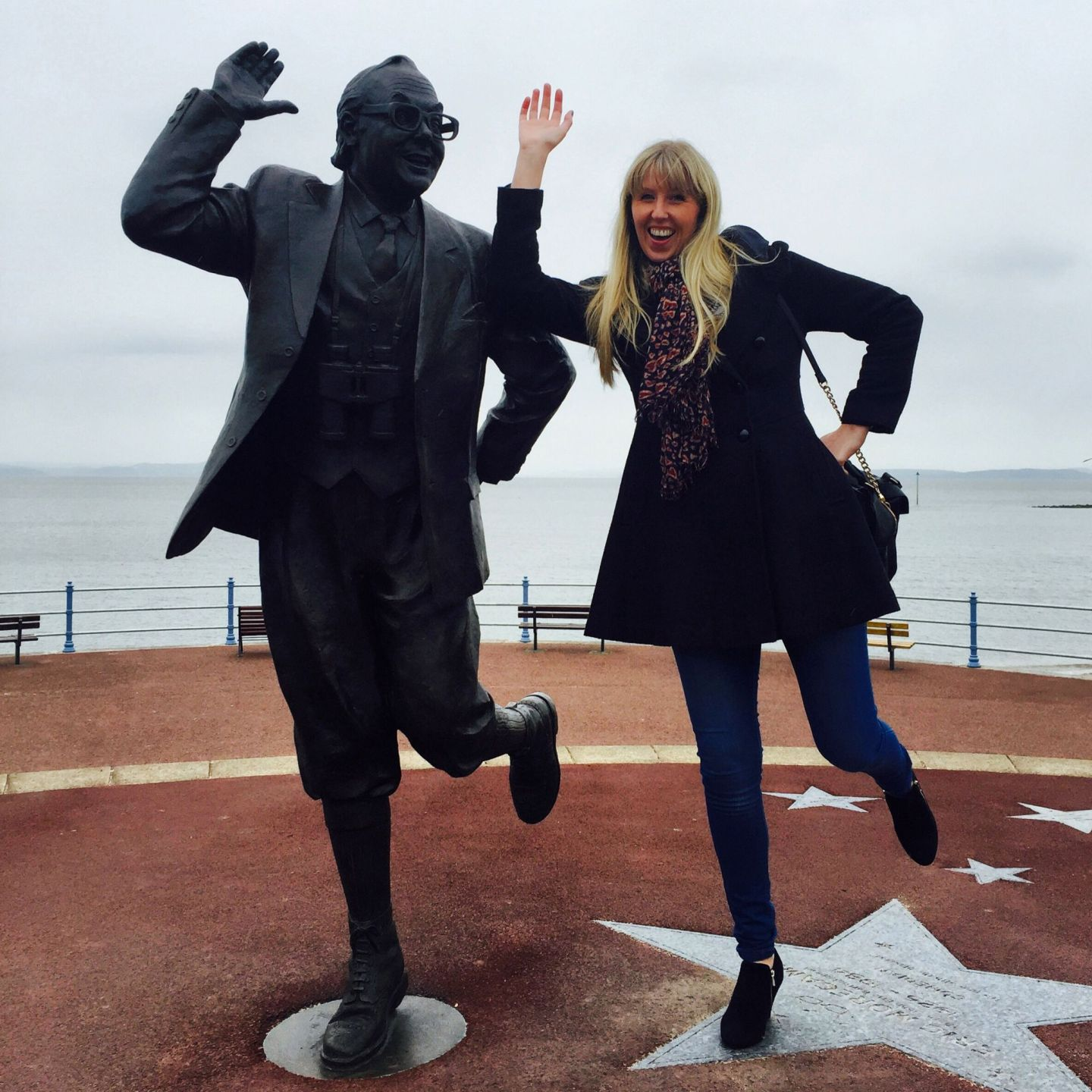 My friend Mel meets the rightfully restored Eric Morecambe statue on the prom